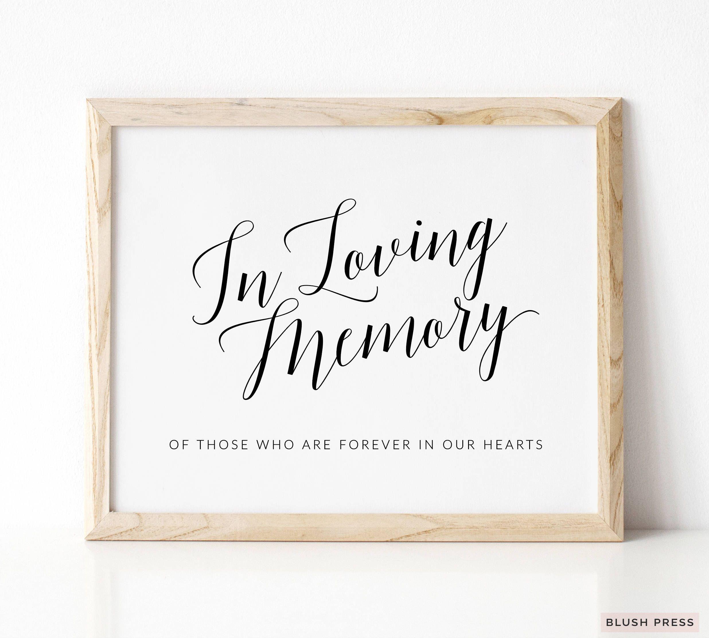 In Loving Memory Wedding Sign Template Printable Memorial Etsy In 2021 Wedding Signs Sign Templates Wedding Memorial