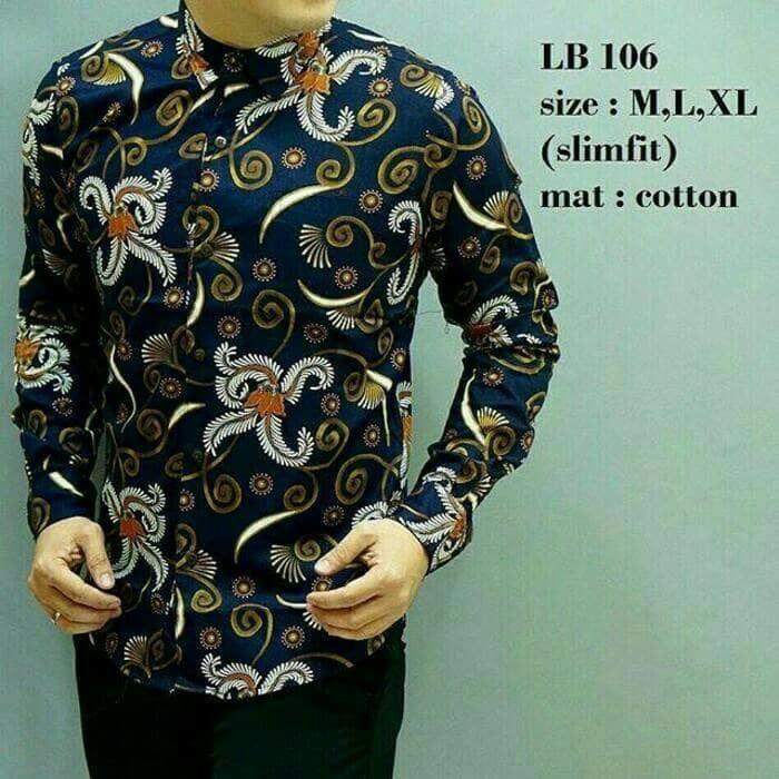 Baju Batik Pria Slim Fit Modern Lengan Panjang D250  Lina Batik