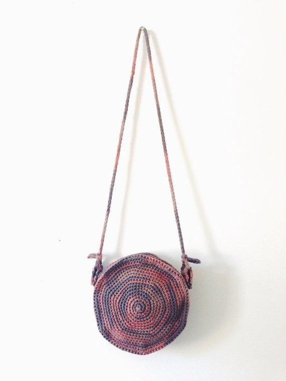 Pattern For Round Crochet Spiral Purse Boho Circle Bag Canteen