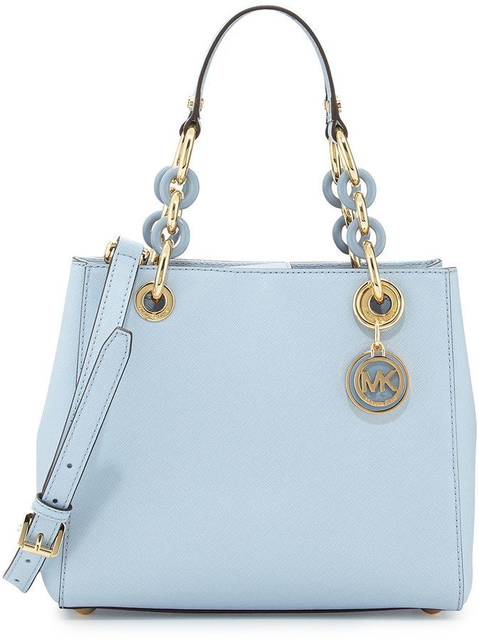 59a08688c18cc7 MICHAEL Michael Kors Cynthia Small Satchel Bag, Pale Blue on shopstyle.com