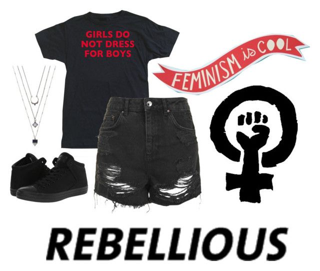 """""""•Feminism #5•"""" by theemowithin ❤ liked on Polyvore featuring Topshop and Converse"""