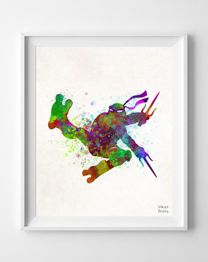 Ninja turtles print watercolor raphael teenage by inkistprints