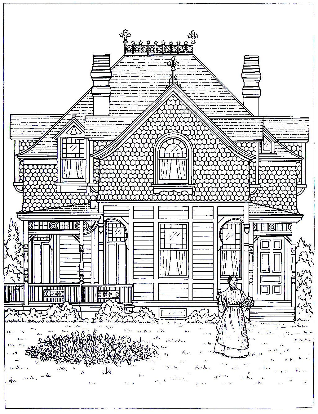 victorian house printable coloring book page. a stick style