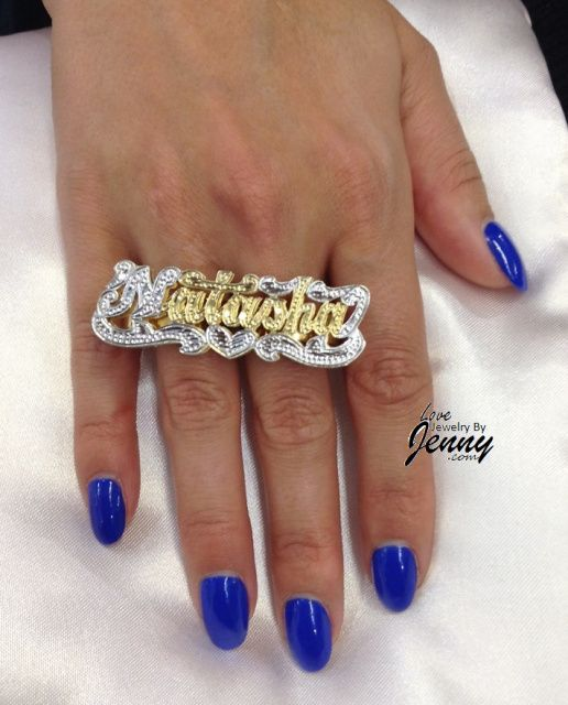 Silver Or Gold Plated Two Finger Name Ring 3 D Double Plate