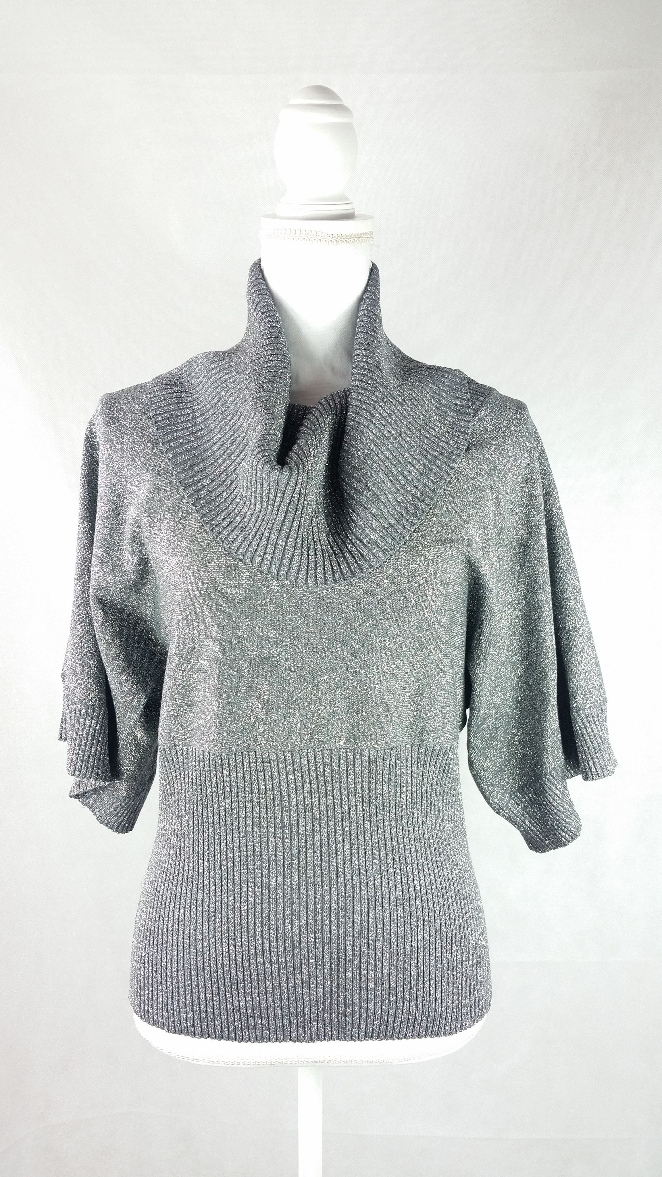 Vintage Grey Metallic Cowl Neck Sweater Sz Large | Products ...