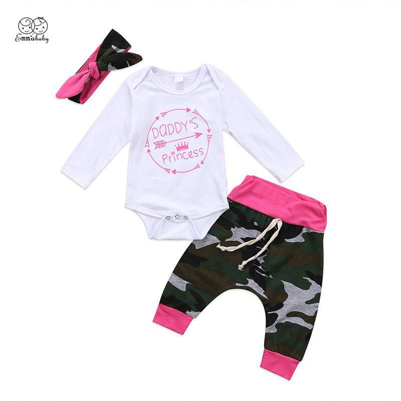 7d2e71894 Emmababy Newborn Baby Girl Camouflage Clothes Daddy's Little Princess  Romper Bodysuit Long Pant Headband 3PCS Kids Clothing Set. Yesterday's  price: US $6.99 ...