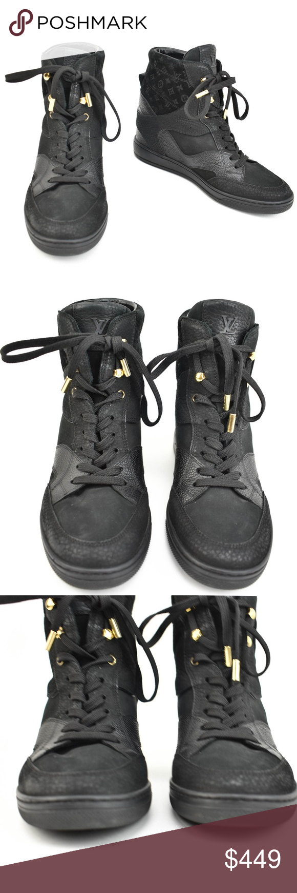 c8059716a726 Spotted while shopping on Poshmark  LOUIS VUITTON Black Leather LV Logo  Hi-Top Sneaker