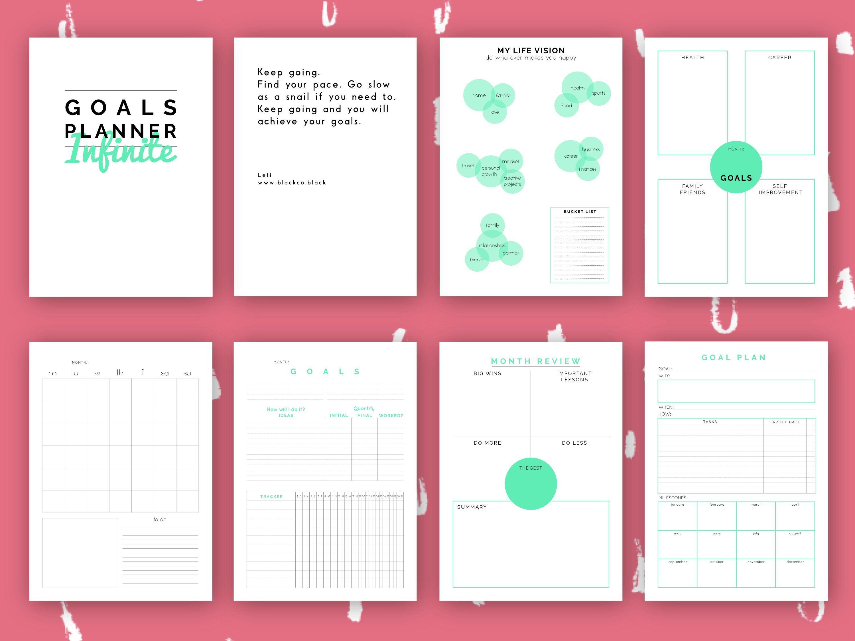 Monthly Goal Planner. Goals sheet printable planner. Goal planner ...