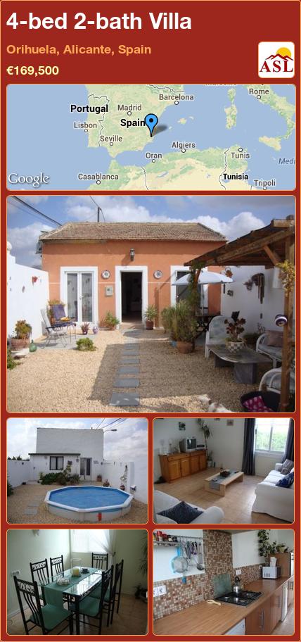 4-bed 2-bath Villa in Orihuela, Alicante, Spain ►€169,500 #PropertyForSaleInSpain