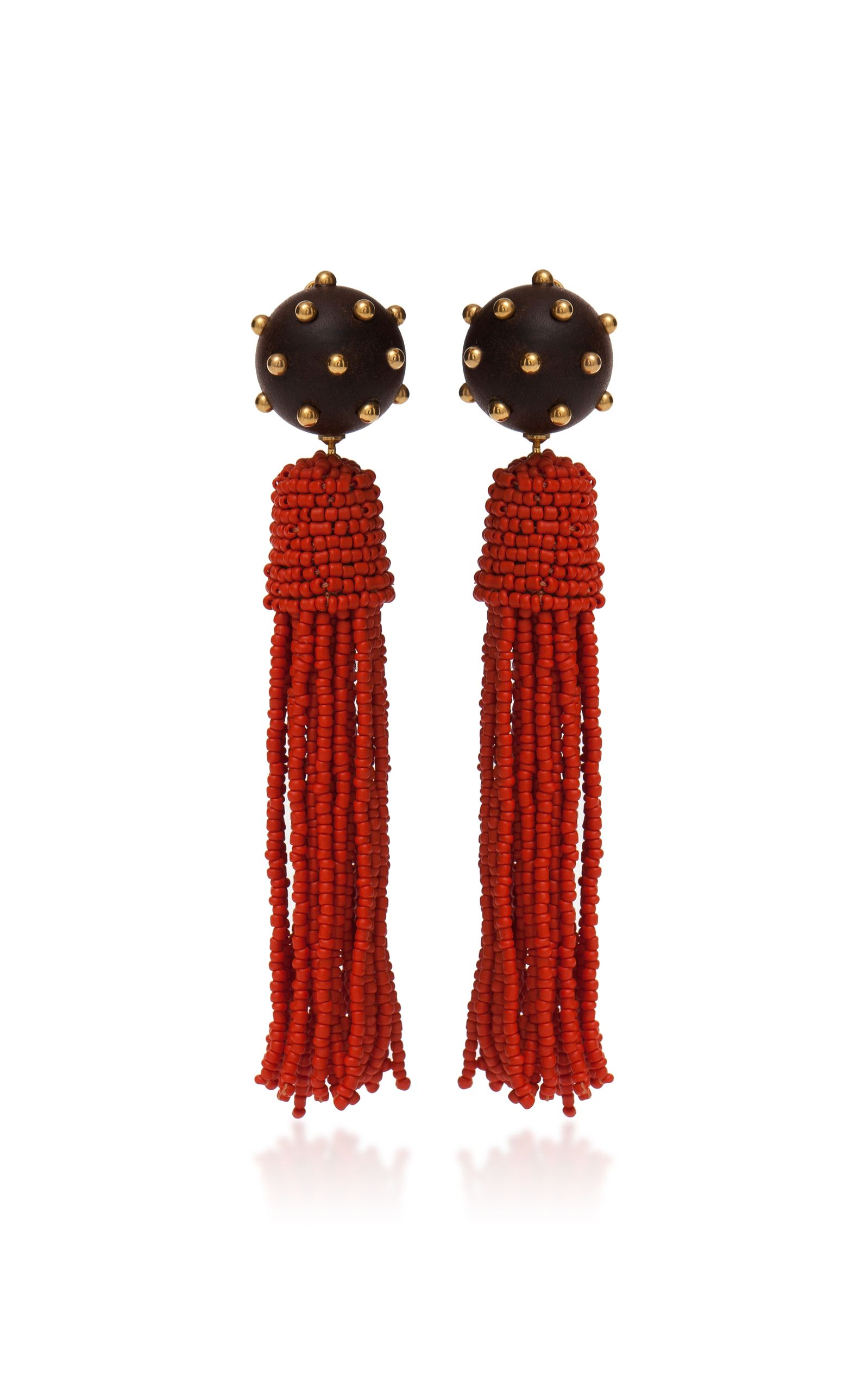 Vanda Jacintho Beaded tassel earrings CmeyRRq49p
