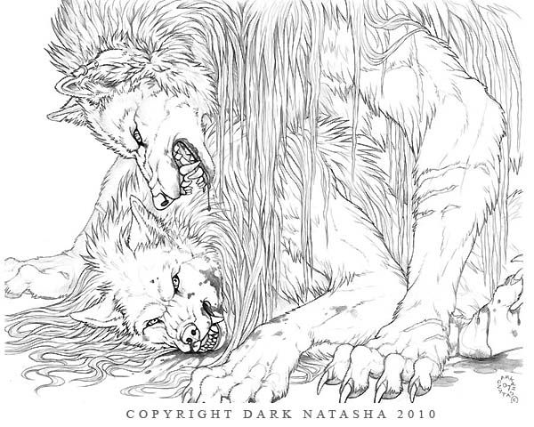 "Fight - ""Two werewolves settle whose boss."" The Art of Dark Natasha."