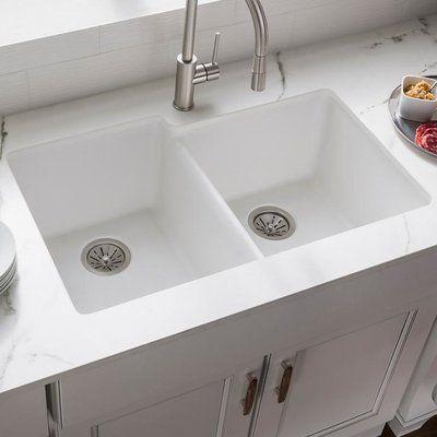 Elkay Quartz Classic 33 L X 21 W Double Basin Undermount Kitchen Sink In 2021 Undermount Kitchen Sinks White Undermount Kitchen Sink Sink Double bowl undermount kitchen sink