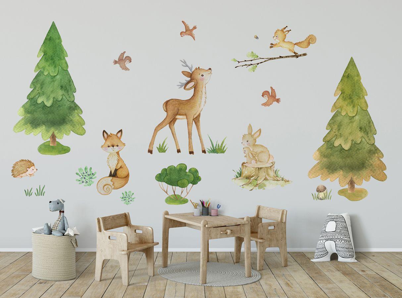 Woodland Nursery Decal Forest Nursery Decal Woodland Wall Sticker