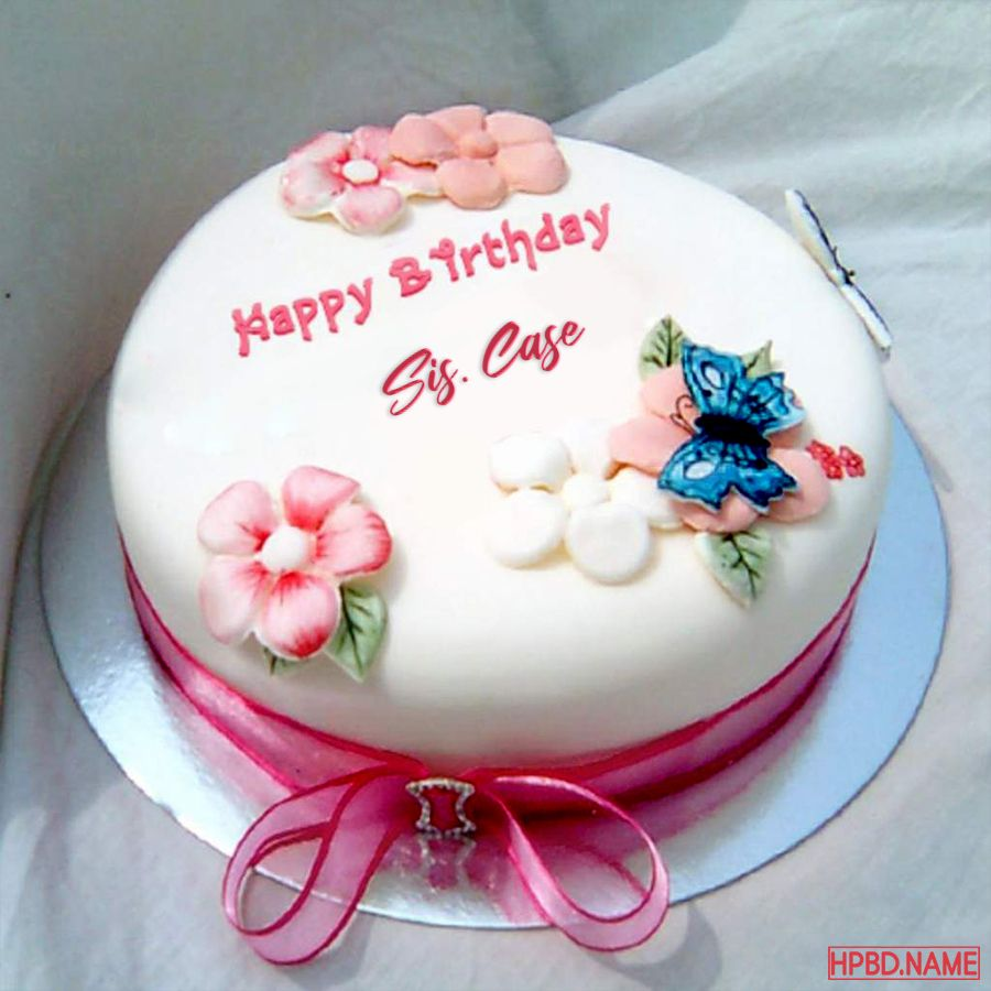 Write Name On Pink Flowers Birthday Cake With Name Edit in
