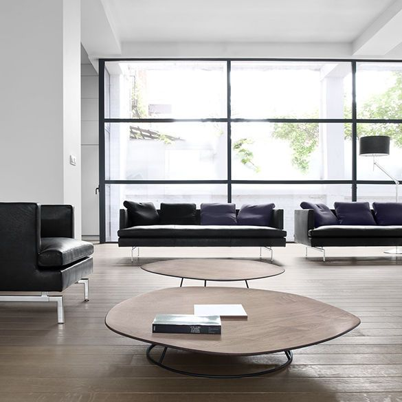 Coffee table / contemporary / American walnut / steel PEBBLE by ...