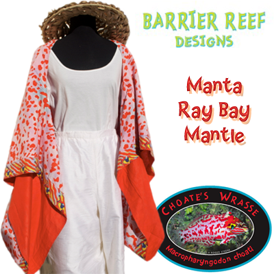 """Mantle-Choates """"Barrier Reef Designs is a fashion first, using the exotic graphics and brilliant colors of real tropical reef fish to create unique prints for resort and summer apparel for women."""""""