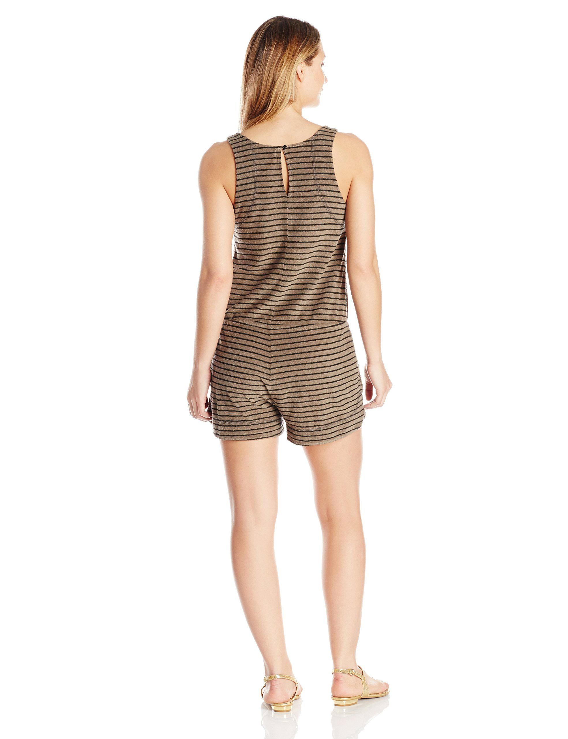 0b1f01c03fd4 Michael Stars Womens Playa Stripe Tank Romper with Pockets Olive Moss  Medium -- Want extra