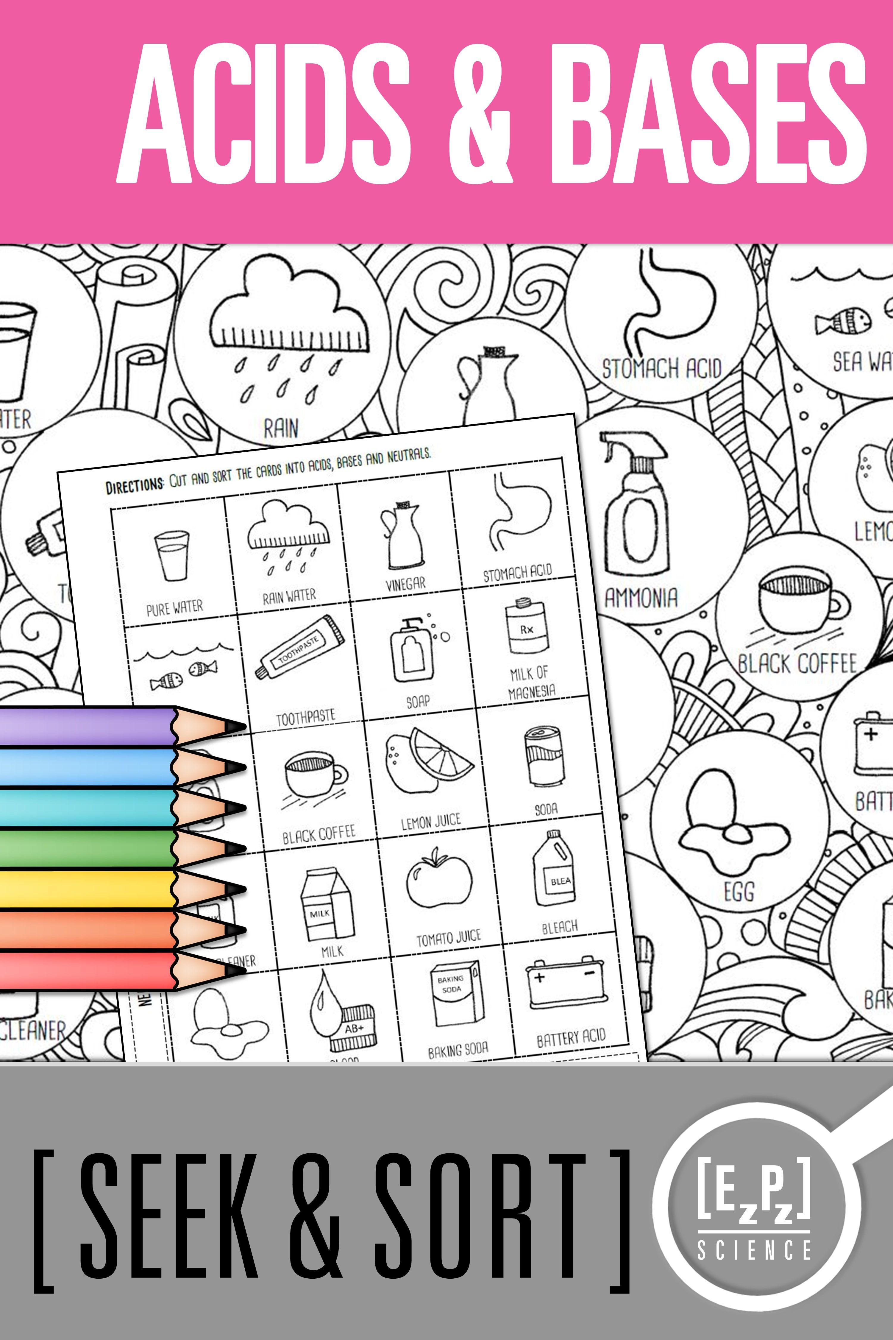 Acids And Bases Seek And Sort Science Doodle Amp Card Sort