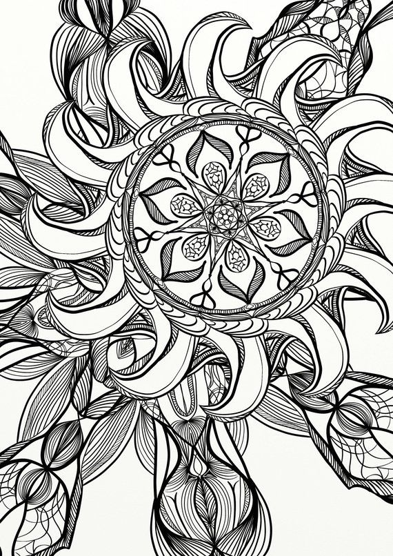 Mandala Spiral Relaxing Adult Coloring Page Products Pinterest