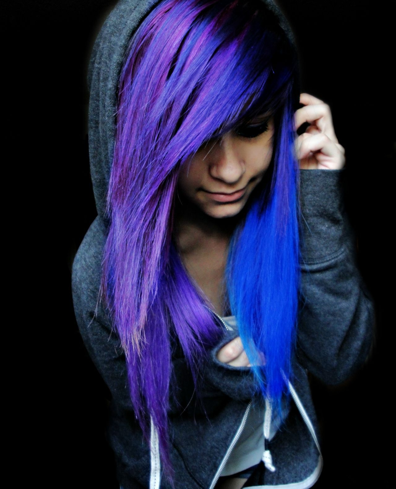 emo girls with blue and purple hair hair pinterest haar