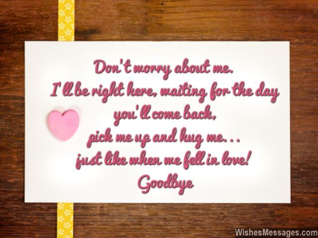 Cute goodbye note for him husband wife hugs kisses and love