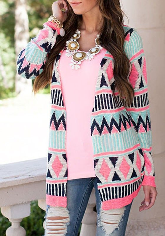 Multicolor Geometric Print Collarless Long Sleeve Aztec Cardigan ...