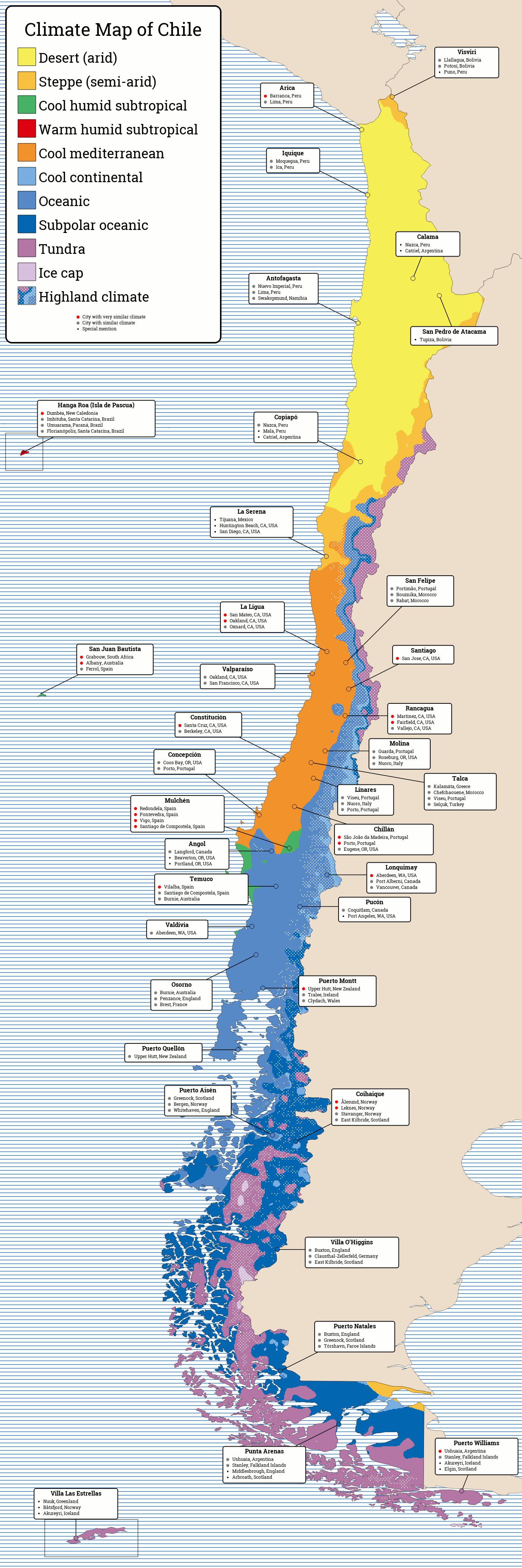 KöppenTrewartha Climate Map Of Chile And Cities With Similar - Map of chile with cities