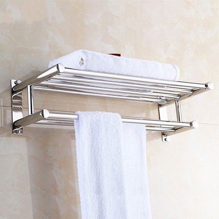 Dilwe Stainless Steel Bath Towel Rack Bathroom Shelf With Double Towel Bar Storage Organizer Contemporary Hotel Square Style Wall Mount Walmart Com In 2020 Bathroom Wall Shelves Bath Towel Racks Bathroom