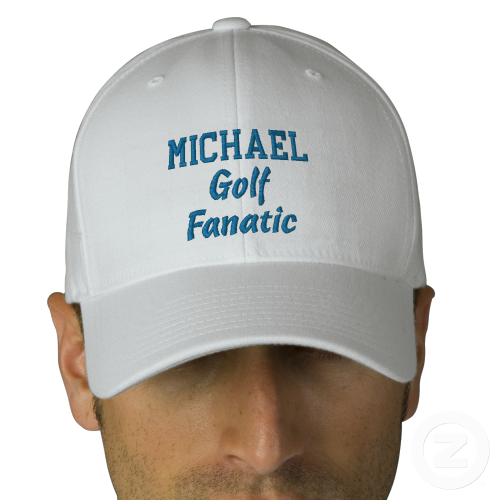 Golf Fanatic Custom Name BLUE Embroidery WHITE Hat Baseball Cap Create your  own hat you can personalize for any special occasion. Add a name! b7a0a0b105e8
