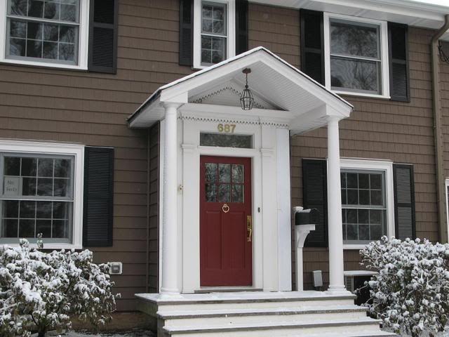 Exterior doors for home fiberglass doors pros and cons for Dark brown exterior trim