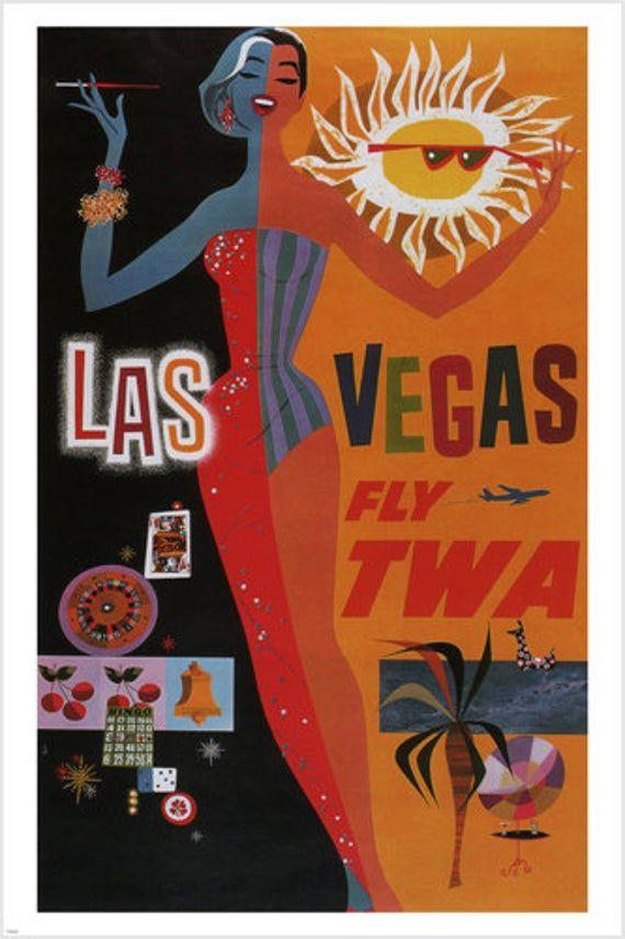 Las Vegas Fly Twa Vintage Travel Poster United States
