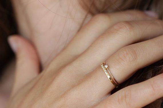 Ring van de diamant van de baby, eenvoudige verlovingsring, kleine diamantring, dagelijks diamantring, dunne Gouden Ring, sierlijke verlovingsring, kleine diamant