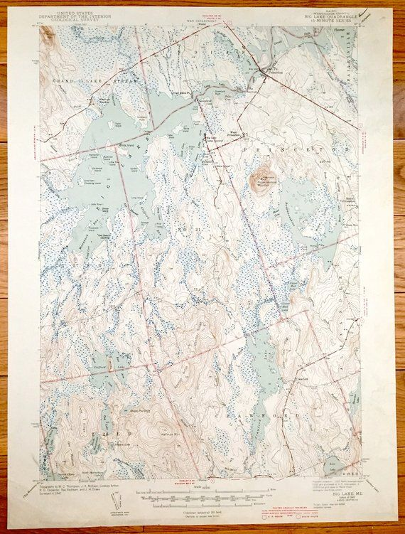 Antique Big Lake Maine 1943 Us Geological Survey Topographic Map