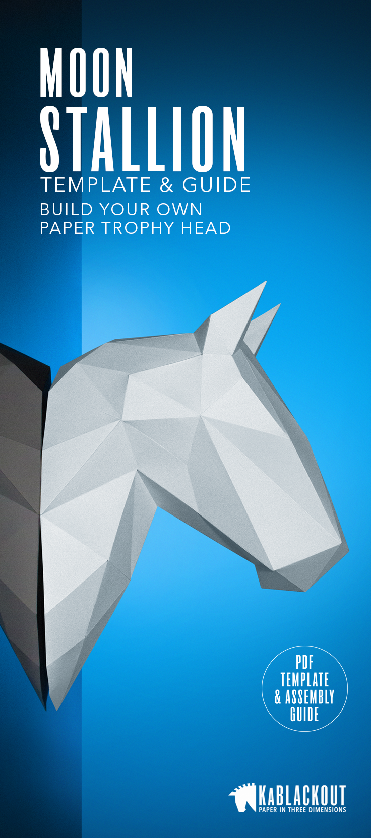Build Your Own Beautiful 3D Papercraft Moon Stallion Wall Decoration Template And Easy