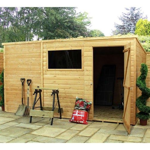 This 10x8 Tongue And Groove Standard Pent Shed Has Loads Of Space With A Great Window To Let Plenty Of Light In With Images Wooden Sheds Shed Plans Shed