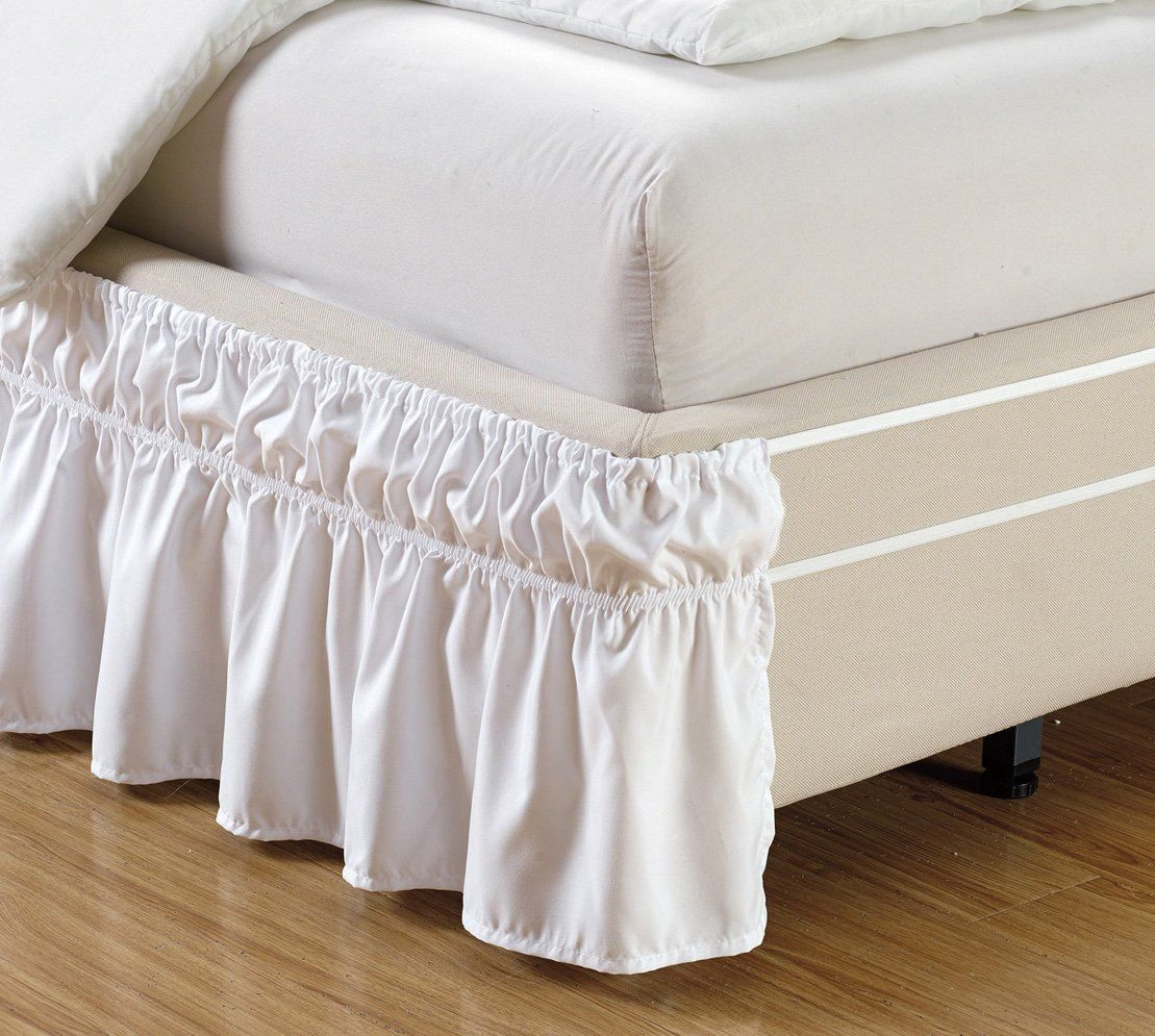Wrap Around 15 Inch Fall White Ruffled Elastic Solid Bed Skirt Fits All Queen King And Cal Size Bedding High Thread Count Microfiber Dust Ruffle