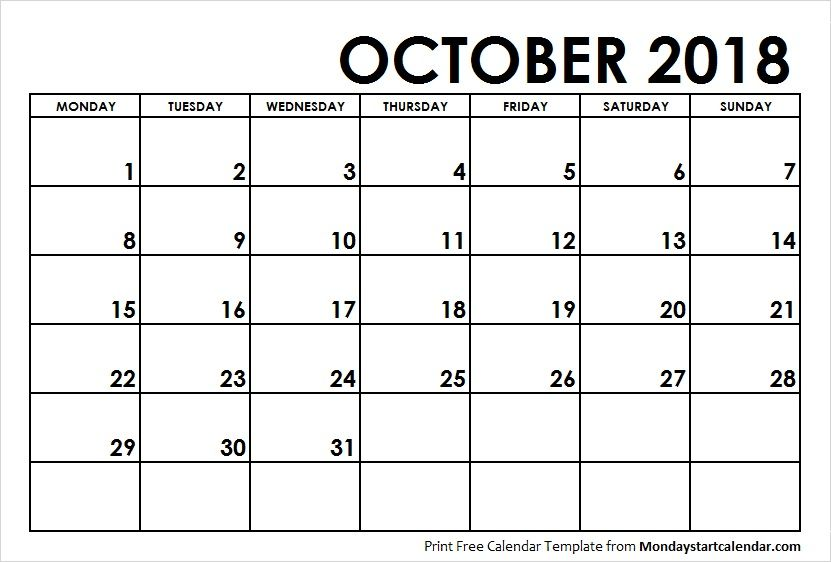 October 2018 Calendar Monday Start Weekly Calendar Calendar