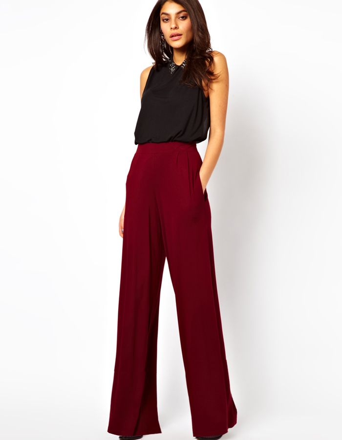 13e44f6ecf48 Asos Wide Trousers in wine bordeaux color, click here for more info: http: