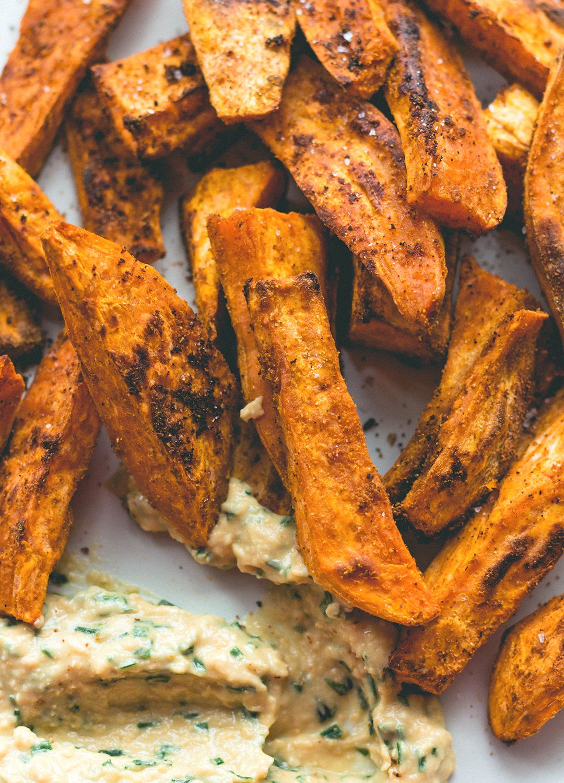 Chef Vikkis Parmesan Crusted Sweet Potato Fries and Lemon Apple Spritzer