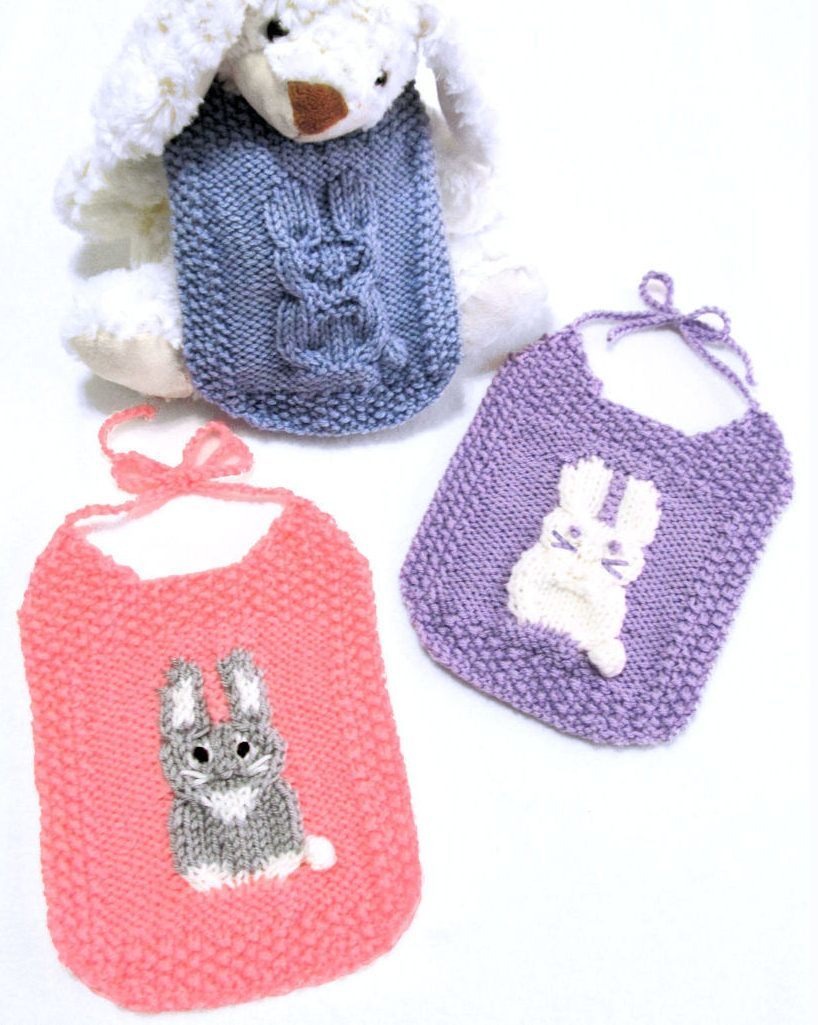 Knitting Pattern for Bunny Bibs - 3 versions – cable bunny only , 2 ...