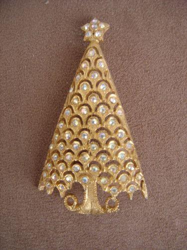 Vintage Mylu Large 3 Ab Rs Crystal Christmas Tree Pin Brooch