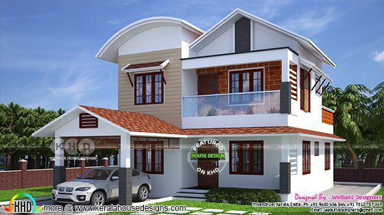 Beautiful 1950 Square Feet Modern Mix Roof Home Design