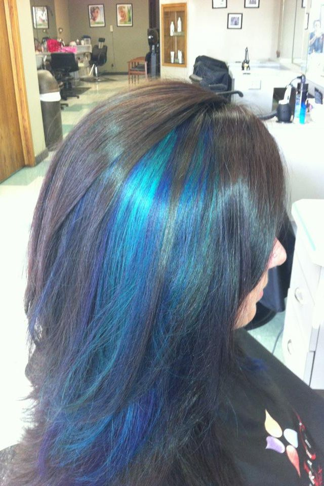 Dark black hair with blue streaks! | Hair, Make up and ...