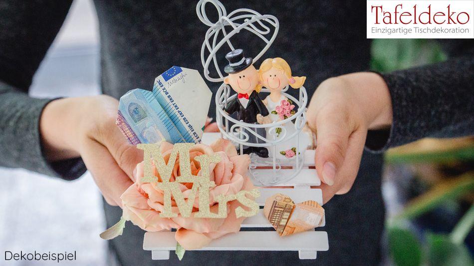 Geldgeschenk zur Hochzeit Mr. & Mrs. mit Voliere