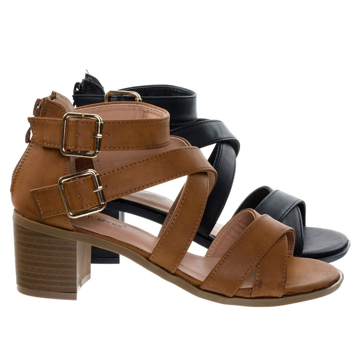 Denise3 Tan by Top Moda, Stacked Low Block Heel, Strappy