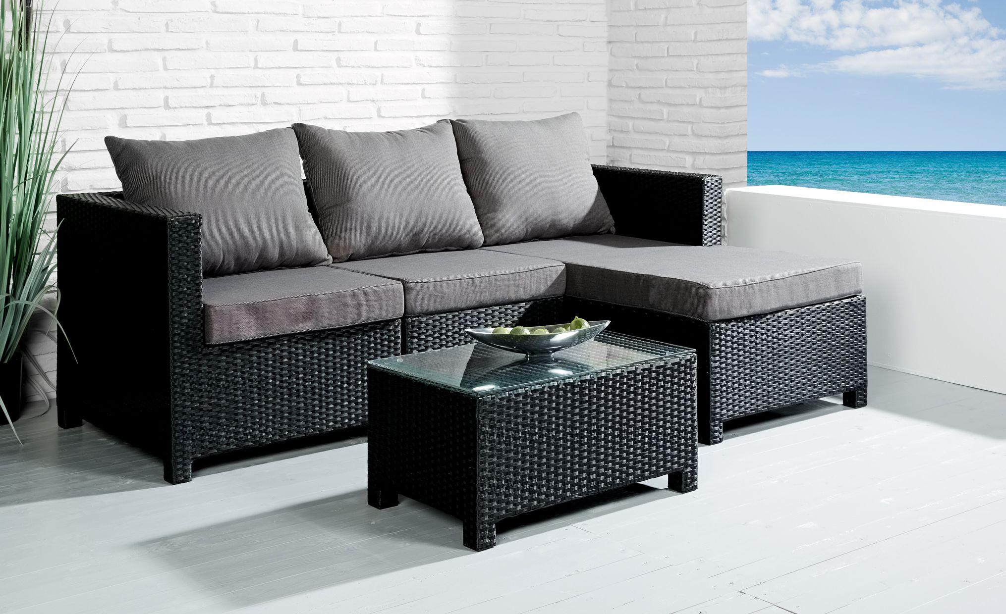 Sitzgruppe Comfortlounge 4 tlg. schwarz Gartengarnitur Lounge ...