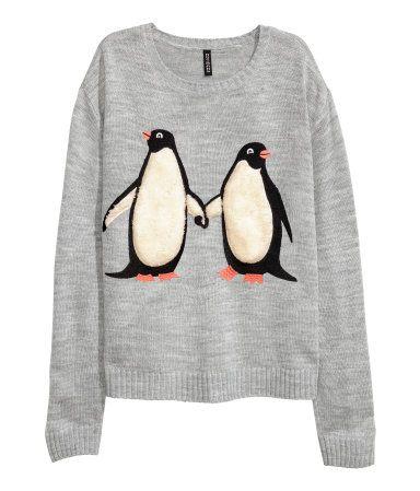 Strikket trøje med motiv | Lysegrå/Pingvin | Dame | H&M DK