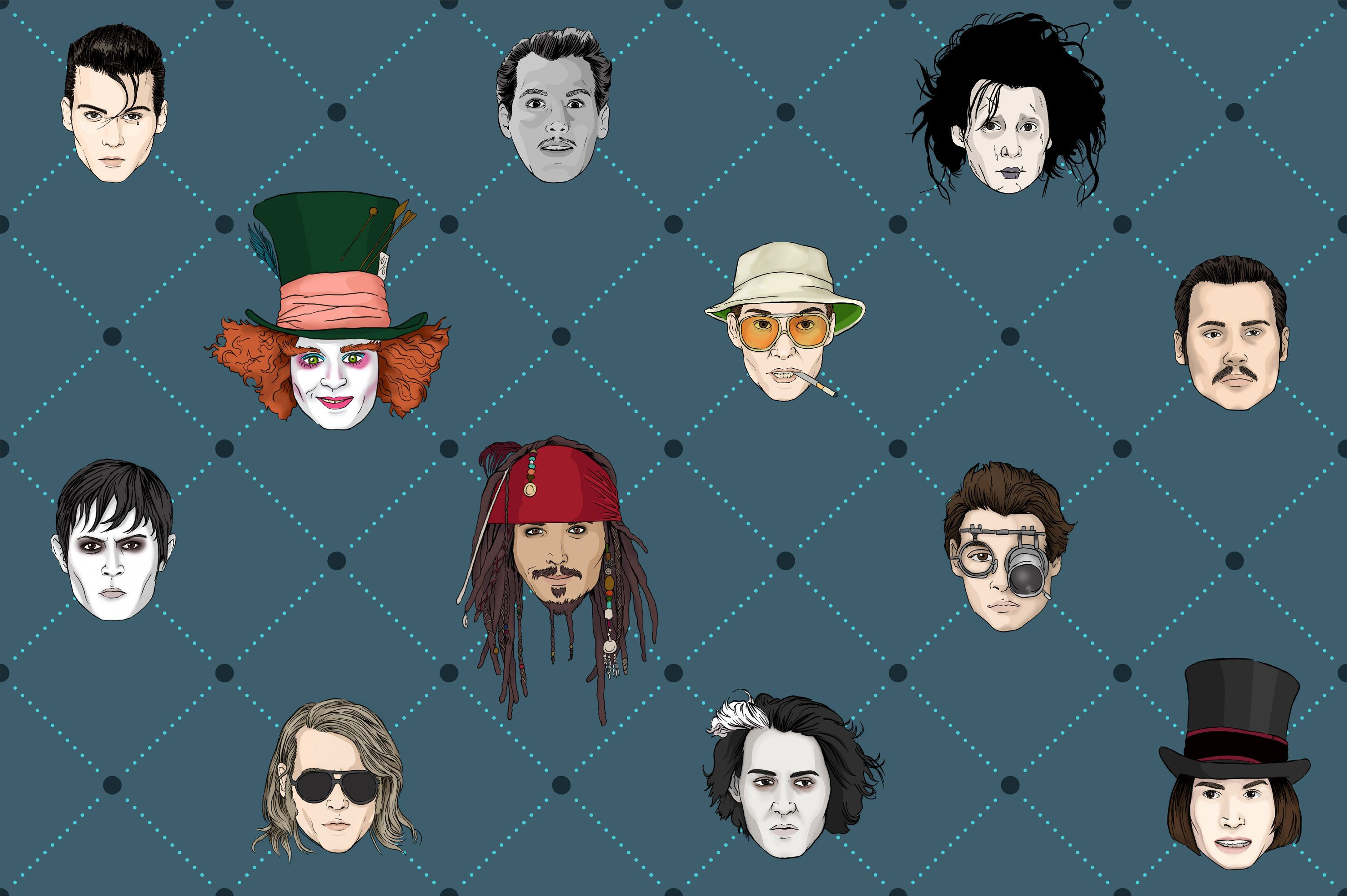 Johnny Depp Wallpaper Pattern Print Featuring The Many Characters Of Johnny Depp Edward Scissorhands Johnny Depp Wallpaper Johnny Depp Johnny Depp Pictures