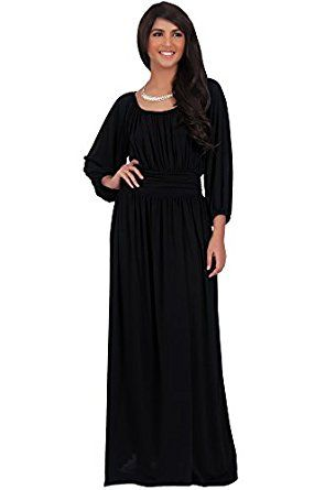2b87a218add6 KOH KOH Plus Size Womens Long Sleeve Vintage Peasant Empire Waist Pleated  Fall Maxi Dress