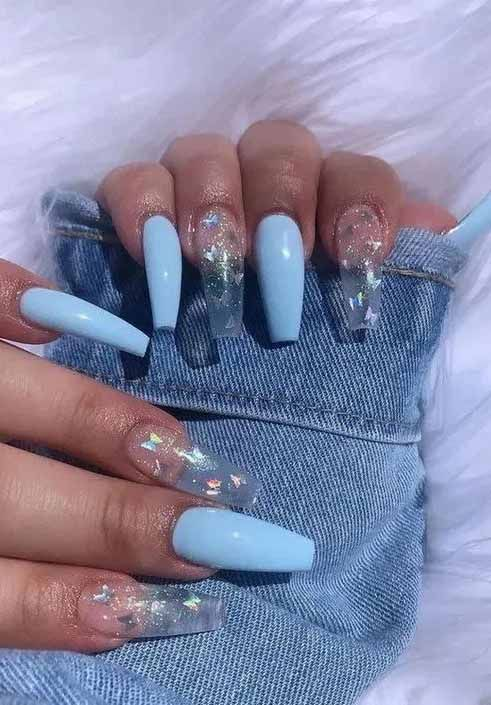 11 Enriched And Colorful Coffin Acrylic Nail Arts You Must Try Blue Acrylic Nails Best Acrylic Nails Nails After Acrylics